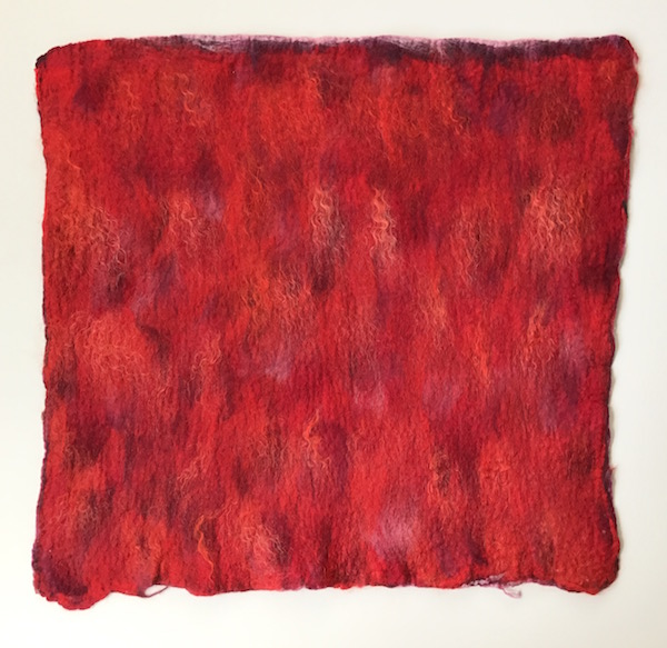 Red Felt Flat with Mohair
