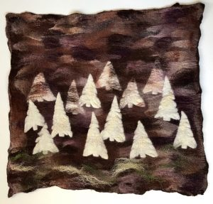 Forest With White Trees Felt Square